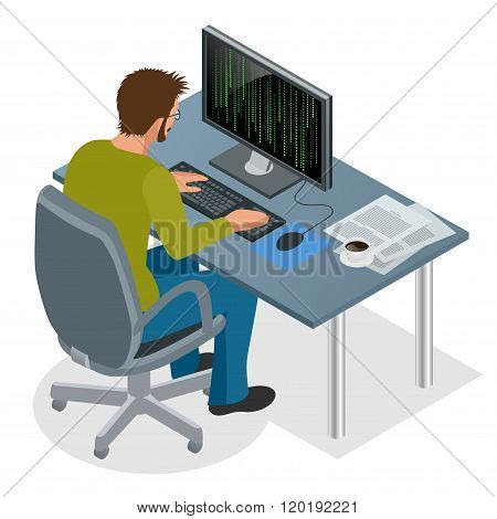 Developer Using Laptop Computer. Web Development concept. Web programming concept. Programming, codi
