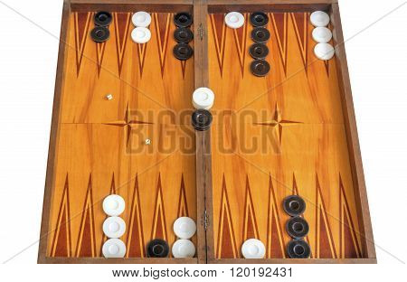 Wooden board for playing backgammon game