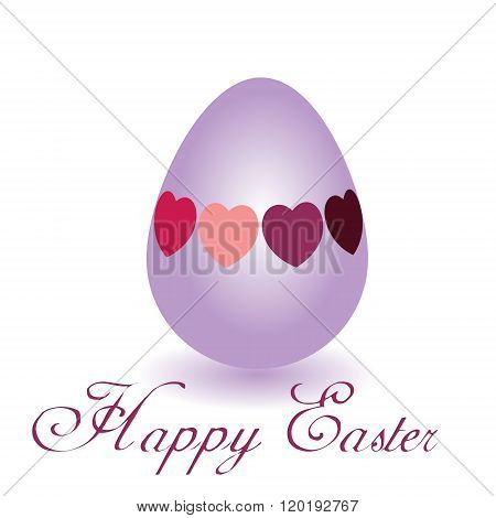 Happy Easter egg with hearts