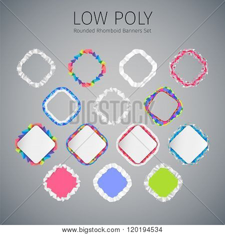 Low Poly Rounded Rhomboid Banners Set