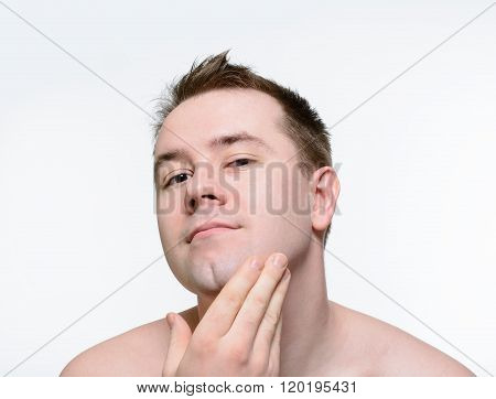 Naked Man Stroking Her Face