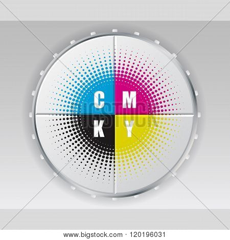 Digital Button With Cmyk Halftone