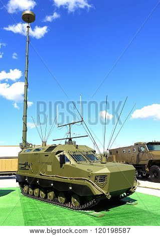 MOSCOW - JUNE 17: Military armored tracked vehicle with antennas for field communication  -  on June 17, 2015 in Moscow