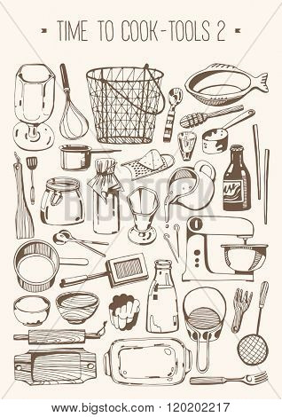 Hand drawn set - Time to cook - Tools 2