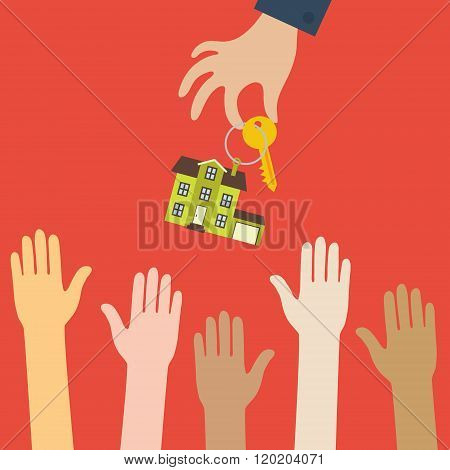 Hand real estate agent holding holds a key with a tag in the for