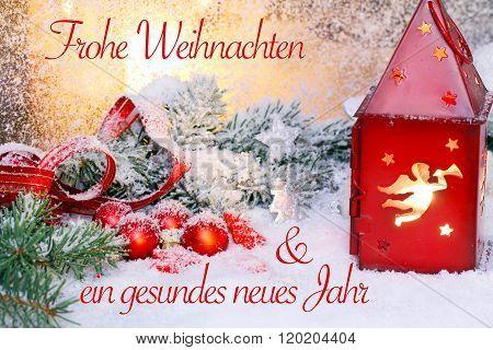 Christmas Card, New Year Card Frohe Weihnachten und ein gesundes neues Jahr
