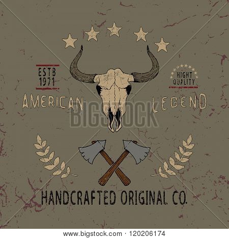 Vintage label with skull of bull