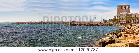 Sunny Mediterranean Beach, Relax In Ocean, Torrevieja, Spain
