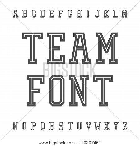 Vintage Font. Slab Serif Retro Typeface. University Team Style L