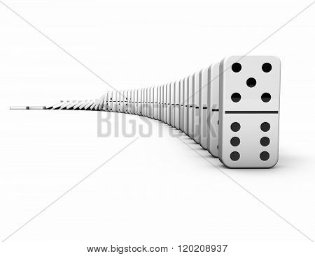 Falling Domino Pieces On White Background.