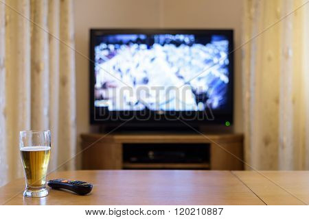 Setup Of Tv (television) And Beer In Home
