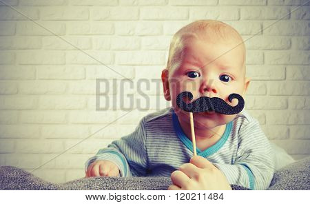 Funny Baby With A Mustache