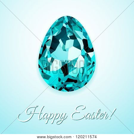 Happy Easter Greeting Card Design With Creative Crystal Easter Egg On Light Background And Sign Happ