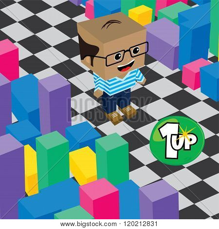 geek boy invasion video game asset isometric vector poster