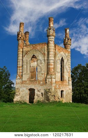 The tower of Glukhni castle built in XIV century by king Svydrygaylo in Novomalyn Ukraine