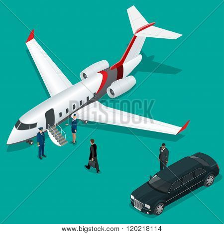 Businessman with luggage walking towards private jet at terminal. Bussines concept stewardess, pilot