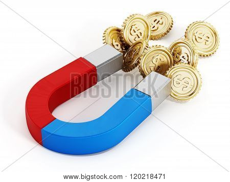 Magnet And Gold Coins