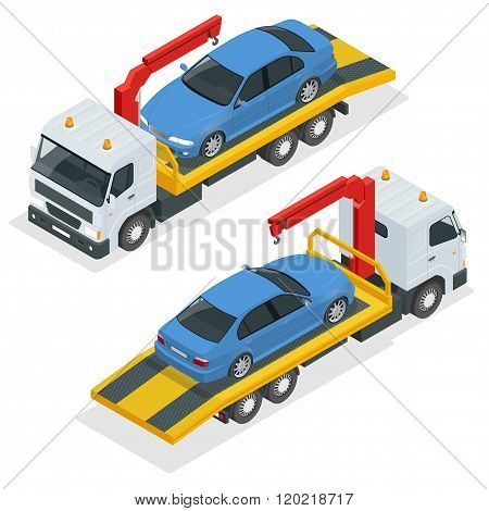 Tow truck isometric vector. Car towing truck 3d flat illustration. Tow truck for transportation faul