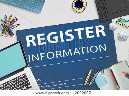 Register Information Apply Signup Concept