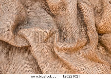 Wrinkled Old Jute Fabric Background