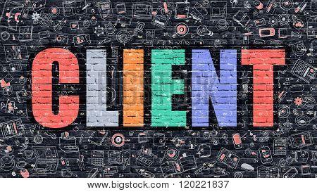 Client in Multicolor. Doodle Design.
