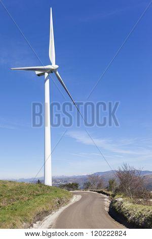 Windmill on wind farm road