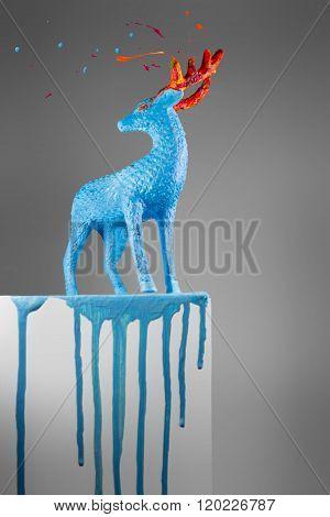 Beautiful Melting Deer On A Pedestal