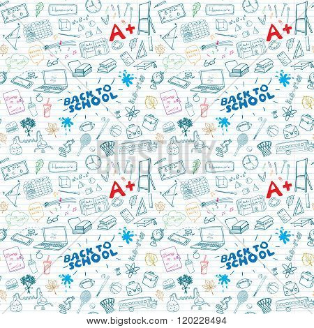 Back To School Seamless Pattern With Hand-drawn Doodles. Sketch Element Background Vector Illustrati