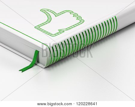 Social network concept: closed book, Thumb Up on white background