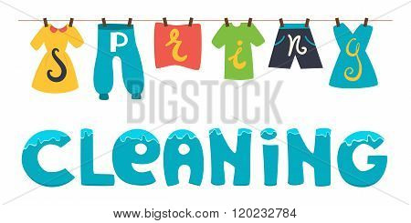 Spring Cleaning. Vector Banner Illustration. Wash The Clothes Drying On The Clothesline.