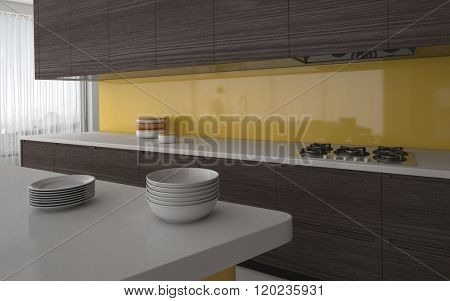 Modern kitchen with yellow splash back and grey cabinetry with a view past stacked plates to the electric hob. 3d Rendering.