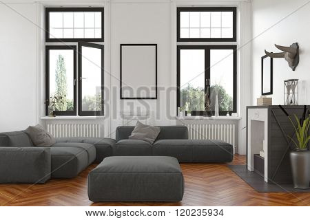 Cozy living room interior with fireplace and radiators below tall windows overlooking the garden and a comfortable grey upholstered lounge suite with blank picture frame on the wall. 3d Rendering.