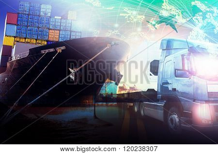 Container Ship In Import,export Port Against Beautiful Morning Light Of Loading Ship Yard Use For
