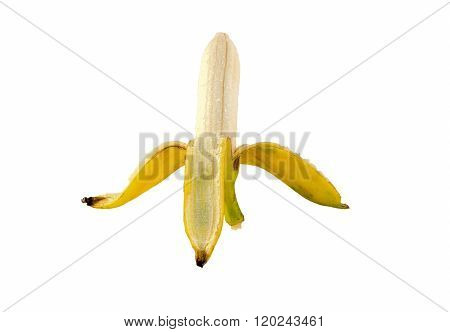 Banana  yellow Peel on the whie background