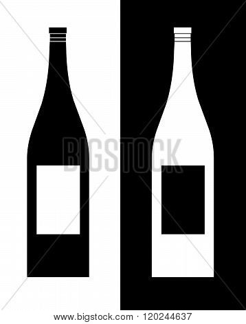 Vector wine bottle set in black and reverse