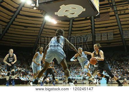 CHAPEL HILL, NC-FEB 28: Duke Blue Devils guard Rebecca Greenwell (23) drives to the basket against the University of North Carolina Tar Heels on February 28, 2016 at Carmichael Arena.