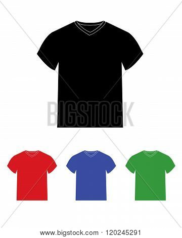 Vector v-neck t-shirt template set in various colours