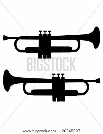 A vector illustration of a trumpet in black and white
