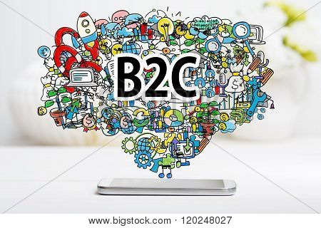 B2C concept with smartphone on white table poster