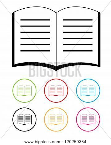 A collection of vector open book icons