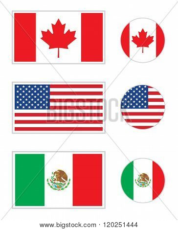 Vector North American flag and icon set