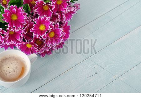 Bouquet Of Beautiful Flowers With Cup Of Coffee