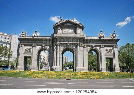 Famous landmark Puerta de Alcalá in Madrid Spain.