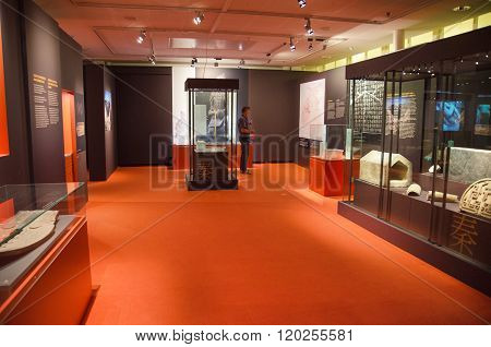 TAMPERE FINLAND - JUNE 24: Terracotta army objects exhibition on June 24 2016 in Vappriikki museum centre Tampere Finland. Also known as the eighth wonder of the world the terracotta army is a UNESCO world heritage site.