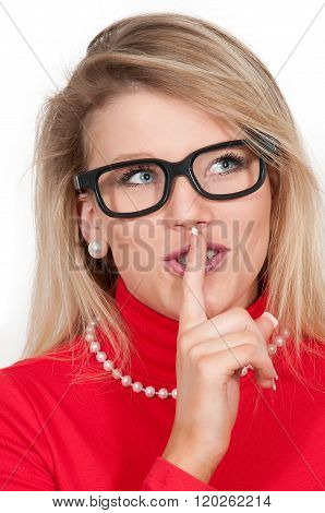 Woman Saying Be Quiet