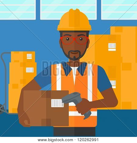 Worker checking barcode on box.