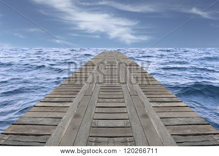 Old Wooden Bridge In The Sea And Have Slight Wave.
