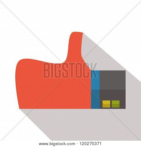 Thumbs up icon vector flat isolated long shadow