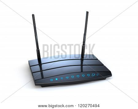 3d modern wireless wi-fi black router with two antennas and blue indicators isolated on white background. High speed internet connection firewall computer network and telecommunication technology concept poster