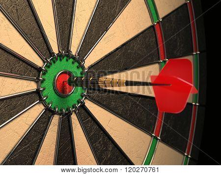 Darts Arrow In The Target Center